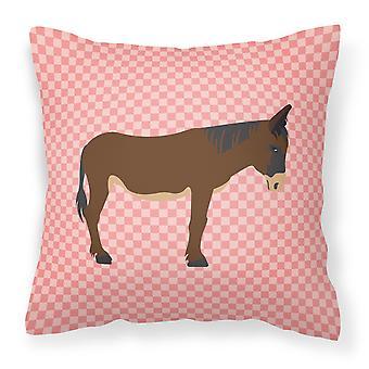 Zamorano-Leones Donkey Pink Check Fabric Decorative Pillow