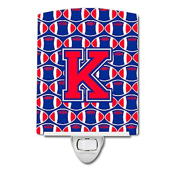 Letter K Football Harvard Crimson and Yale Blue Ceramic Night Light