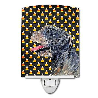 Irish Wolfhound Candy Corn Halloween Portrait Ceramic Night Light