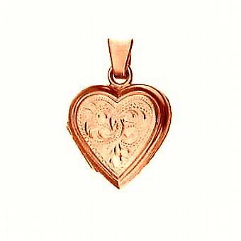 9 kt Rose Gold17x17mm hånd graveret flad hjerteformet medaljon