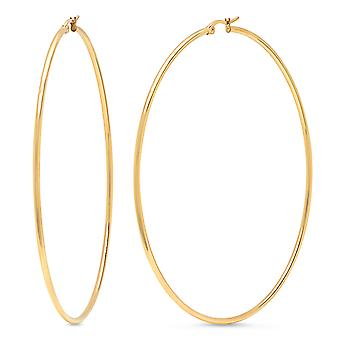 Ladies 18Kt Gold Plated Stainless Steel Round Hoops Earrings