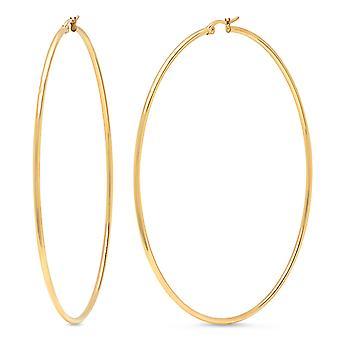 Dames 18Kt goud verguld RVS ronde hoepels oorbellen