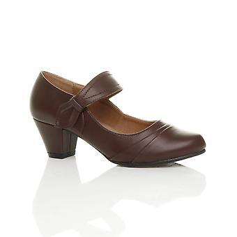 Ajvani womens midden hak mary jane riem slimme werk comfort Hof schoenen