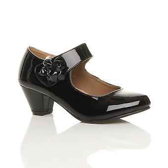 Ajvani womens lage blok kitten hiel mary jane stijl bloem leder bekleed werk Hof schoenen pompen