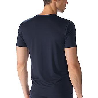 Rede Top de manga curta algodão azul marinho Mey 34202 masculino