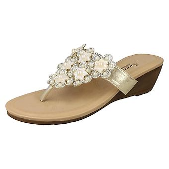 Mesdames Savannah milieu Wedge Toepost sandales F10791
