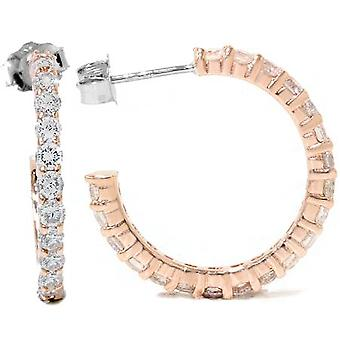 1 1 / 2ct diamante Hoops 14K ouro Rose