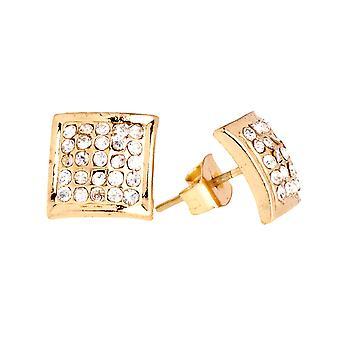 Guld bling Ice ud øreringe - firkant 10 mm