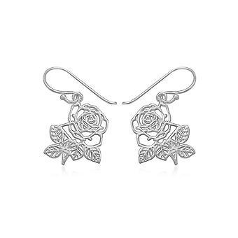 Dinglende øreringe til Hæklet roser i sølv 925