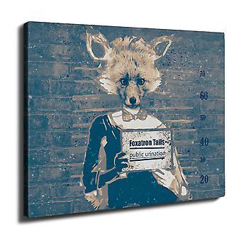 Fox Mug Shot Beast Wall Art Canvas 40cm x 30cm | Wellcoda