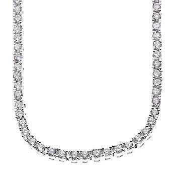 Iced bling Circonia acero inoxidable Collar tenis - plata 4mm