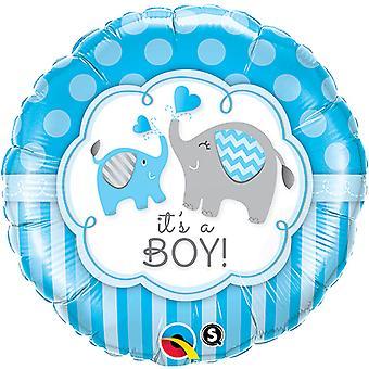 QUALATEX 18 pouces tour sa A Elephant Boy/Girl Design ballon de papier d'aluminium