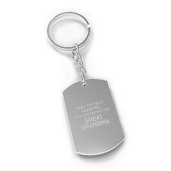 Promoted To Great Grandma Silver Key Chain