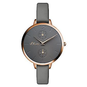 s.Oliver Damen Uhr Armbanduhr Leder SO-3534-LM