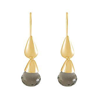 Gemshine Womens örhängen guldpläterad rökig kvarts droppe brun 2 cm