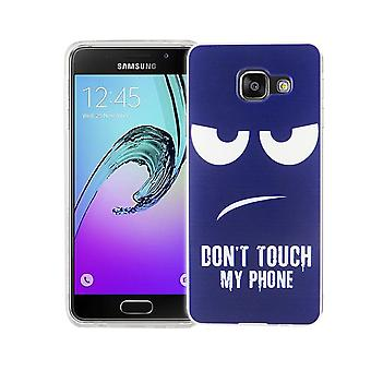 Custodia porta cellulare per motivi di borsa custodia protettiva cover Samsung Galaxy A3 2016 slim TPU + armatura di vetro di protezione 9 H non toccare il mio telefono Blau