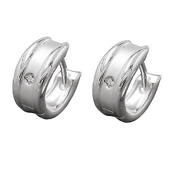 Ovale Creole silber matt-glänzend weiße Zirkonia Klappscharnier Silber 925