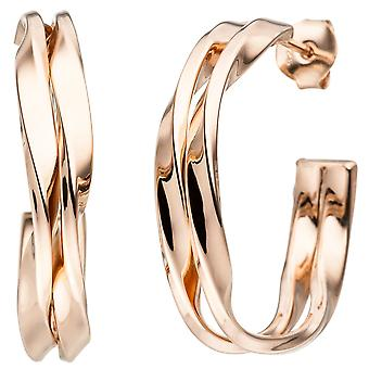 Halbcreolen 925 sterling silver plated hoops boucles d'oreilles or rose
