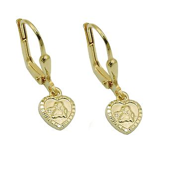 Brisur 22x7mm earring small heart with Angel shiny 14Kt GOLD