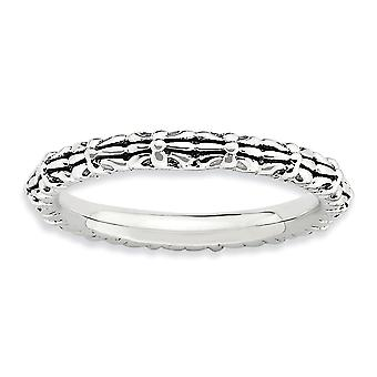 2.5mm 925 Sterling Silver Polished Patterned Stackable Expressions Ring Jewelry Gifts for Women - Ring Size: 5 to 10