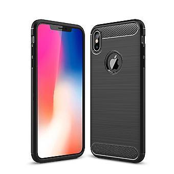 Apple iPhone XS Max TPU Case carbon fiber optics geborsteld beschermhoes zwart