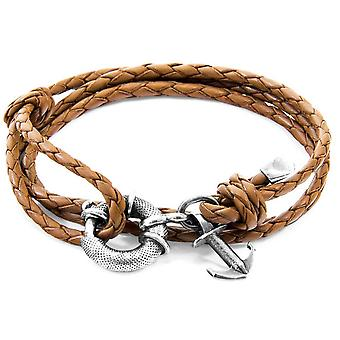 Anchor and Crew Clyde Silver and Braided Leather Bracelet - Light Brown