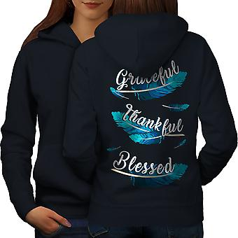 Feathers Grateful Women NavyHoodie Back | Wellcoda