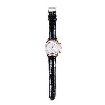 Lovemystyle Black and Rose Gold Watch With Diamante Detail
