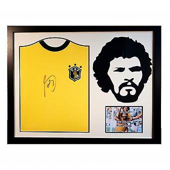 Brasil Socrates ondertekend Shirt silhouet