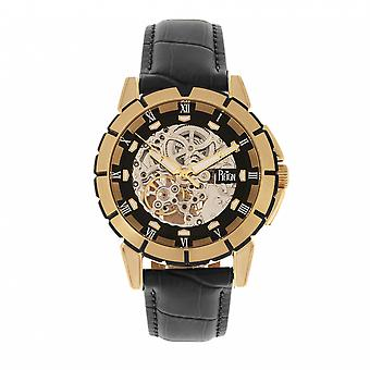 Reign Philippe Automatic Skeleton Leather-Band Watch - Gold/Black