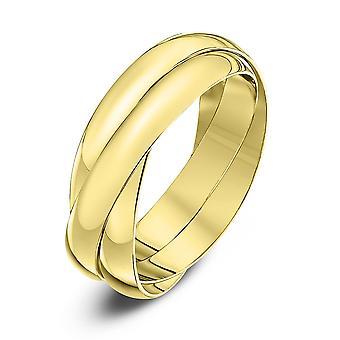 Anillos de boda estrella 9ct oro amarillo 3mm anillo de bodas Ruso