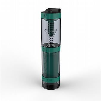 Intelishake Dragon Teal - Shaker Bottle Multi-Compartment Protein/Workout/Juice with Water Carbon Filter for Sports Exercise & Gym