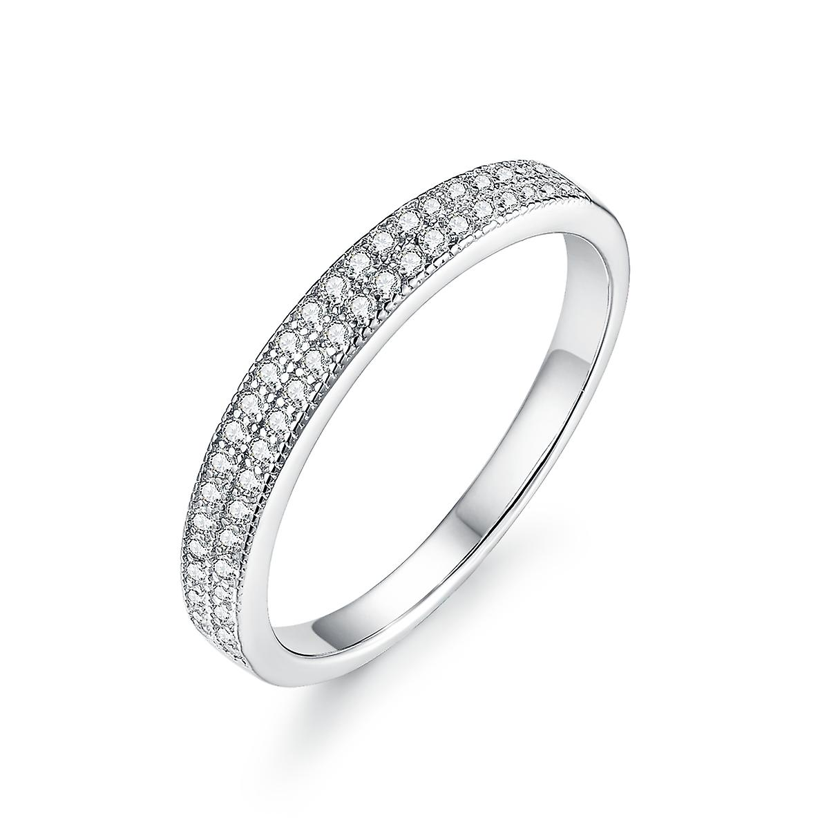 925 Sterling Silver Double Pave Engagement Wedding Ring Set