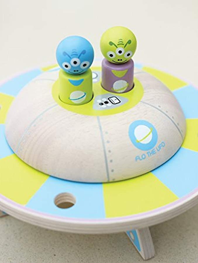 Indigo Jamm Flo the UFO, Retro Wooden Toy Vehicle with Rotating Saucer and Removable Alien Passengers