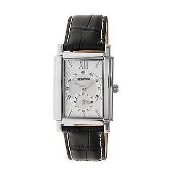 Heritor Automatic Frederick Leather-Band Watch - Silver
