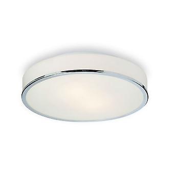 Firstlight-2 ljus Round Flush badrum taklampa krom, opal glas IP44-5756CH