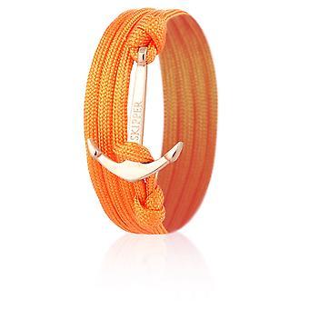 Schipper anker Armband wrap armband nylon in oranje met zilveren anker 8008