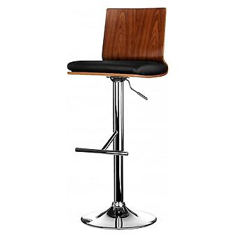 Fusion Living Walnut And Black Faux Leather Contemporary Bar Stool