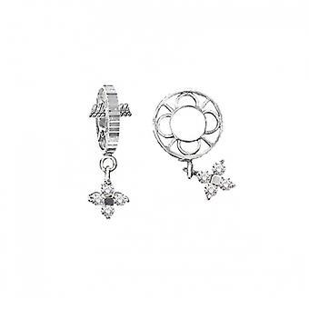 Storywheels Silver & Diamond Flower Dangle Charm S010D