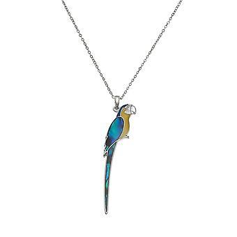 Eeuwige collectie Blue zat Macaw Paua Shell en hars zilveren Toon hanger