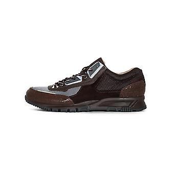 Lanvin Brown & Dark Grey Suede, Leather & Mesh Runner