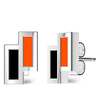 Oklahoma State University Sterling Silver Asymmetric Enamel Stud Earrings In Black and Orange