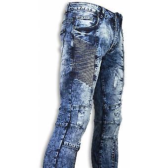 Biker Jeans - Slim Fit Denim Urban Look Ribbel Thigh - Blauw