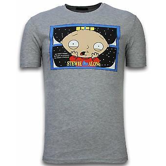 Stewie Home Alone-T-shirt-Grey