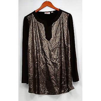 Quacker Factory Women's Top Sequined Long Sleeve Tunic Brown A267232