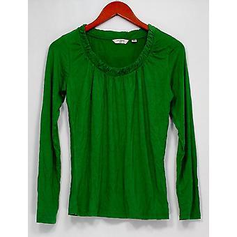 Liz Claiborne Top XXS New York Gathered Scoopneck Juniper Green A219160