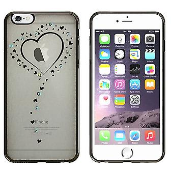 iPhone 6 Plus und 6 s Plus Case Hearts Black - Backcover Clear Bumper Look