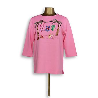 Quacker Factory Embellished 3/4 Sleeve Top Summer Vacation Pink A00710