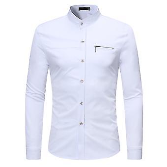 Alle Themen Men's Solid Slim Stand Kragen Reißverschluss Dekoration Langarm Shirt