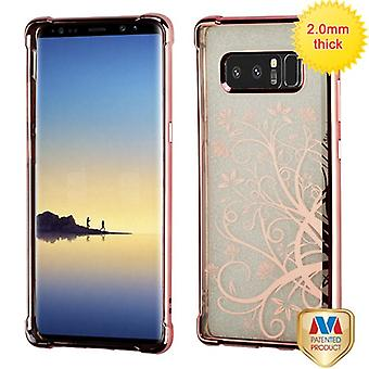 MYBAT Rose Gold Electroplating/Maple Vine Sheer Glitter Premium Candy Skin Cover  for Galaxy Note 8